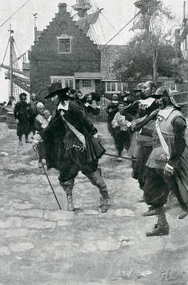 The Arrival Of Stuyvesant In New Amsterdam, Illustration From Colonies And Nation By Woodrow Print by Howard Pyle