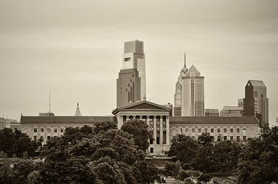 The Art Museum From Lemon Hill In Sepia Print by Bill Cannon