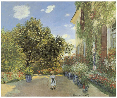 Garden Scene Painting - The Artist House At Argenteuil by Claude Monet
