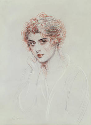 Neck Drawing - The Artists Daughter by Paul Cesar Helleu