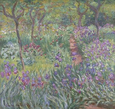 Bed Painting - The Artist's Garden In Giverny by Claude Monet