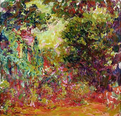 Blurred Painting - The Artists House From The Rose Garden by Claude Monet