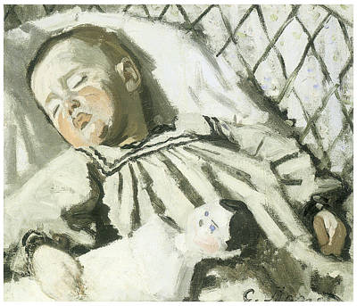 Impressionism Mixed Media - The Artist's Son Asleep by Claude Monet
