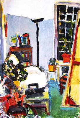 Night Lamp Painting - The Artist's Studio At Night by Anita Dale Livaditis
