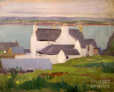 Scottish Colourist Painting - The Artists Studio Iona by Francis Campbell Boileau Cadell