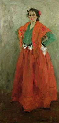 The Artists Wife Dressed As A Spanish Woman Print by Alexej von Jawlensky