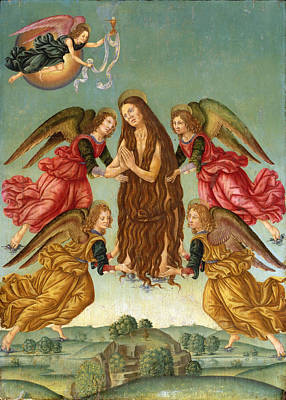 Mary Magdalene Painting - The Ascension Of Saint Mary Magdalene by Master of the Johnson Ascension of Saint Mary Magdalene