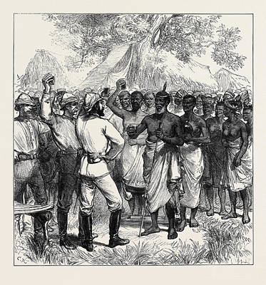 1874 Drawing - The Ashantee War Drinking The Queens Health In Our Camp 1874 by English School