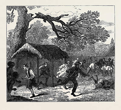 1874 Drawing - The Ashantee War Fall Of A Tree In Camp 1874 by English School