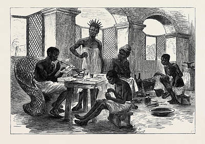 1874 Drawing - The Ashantee War Jewellers Shop Cape Coast Castle 1874 by English School