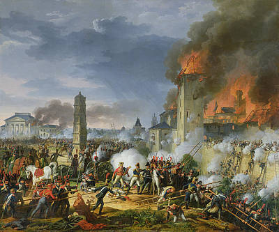 The Attack And Taking Of Ratisbon, 23rd April 1809, 1810 Oil On Canvas Print by Charles Thevenin