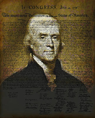 Thomas Jefferson Digital Art - The Author Of America by Bill Cannon