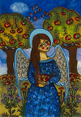The Autumn Angel With The Apples Original by Iwona Fafara-Pilch