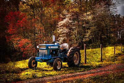 The Autumn Blues Print by Debra and Dave Vanderlaan
