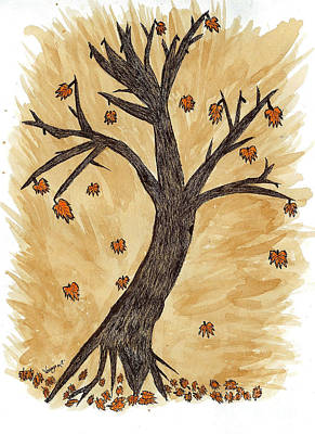 The Autumn Forest Will Die Happily To Re-birth A Tree Created With Tea Print by Nikunj Vasoya