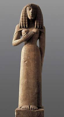 Statue Portrait Photograph - The Auxerre Godess. 640 -630 Bc by Everett