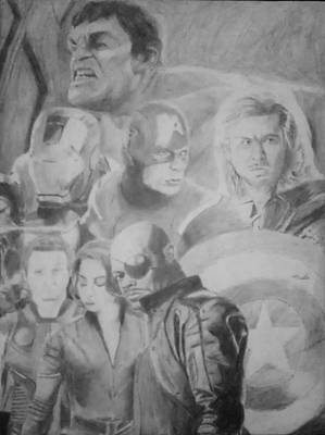 Robert Downey Jr Drawing Drawing - The Avengers by Milton  Gore