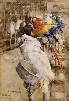 Parrot Drawing - The Aviary, Clifton, 1888 by Joseph Crawhall