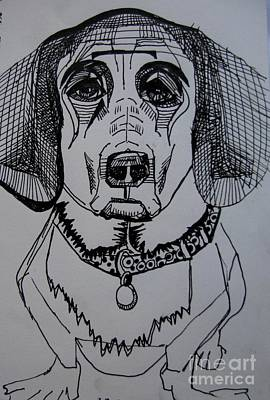 Doxie Drawing - The Baby by Grace Liberator