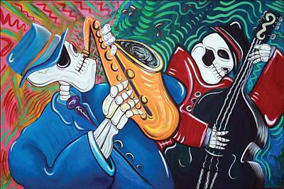 Folk Art Mixed Media - The Bad Blues Bone Band by Laura Barbosa