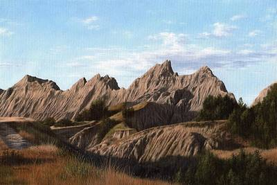 Badlands Painting - The Badlands In South Dakota Oil Painting by Rachel Stribbling