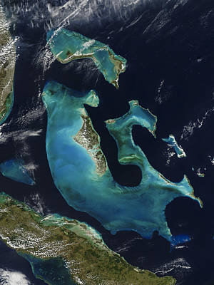 Earth From Space Photograph - The Bahamas by Adam Romanowicz