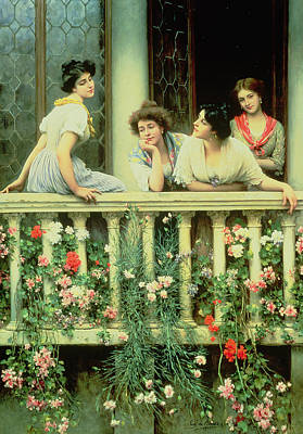 Carnation Painting - The Balcony by Eugen von Blaas