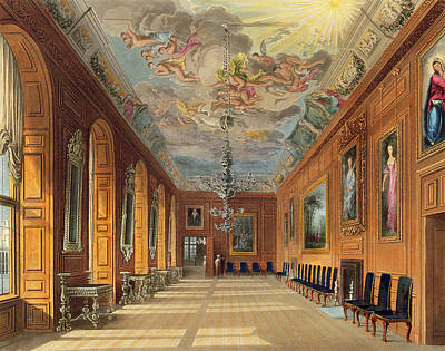 Panel Drawing - The Ball Room, Windsor Castle by Charles Wild
