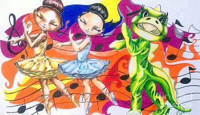 Animation Drawing - The Ballerinas And The Dragon Tale by Rhonda Falls