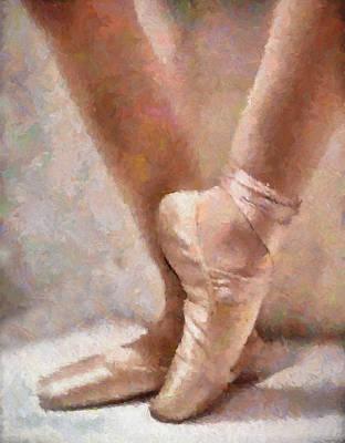 Ballet Dancers Mixed Media - The Ballerina's Shoes by Georgiana Romanovna