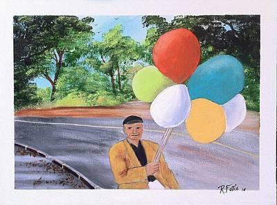 Balloon Vendor Painting - The Balloon Man by Rich Fotia