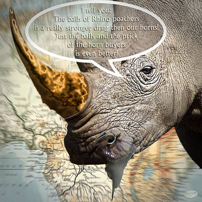 The Big Five Digital Art - the balls of the Rhino poachers by Nafets Nuarb