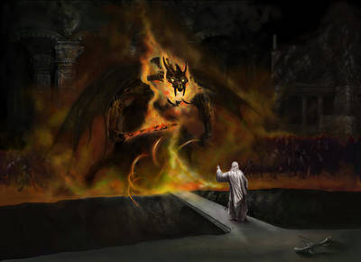 Tolkien Painting - The Balrog by Matt Kedzierski