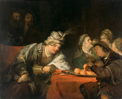 Ahasuerus Painting - The Banquet Of Ahasuerus by Aert de Gelder