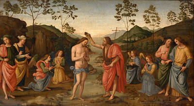 Baptism Of Christ Painting - The Baptism Of Christ by After Pietro Perugino
