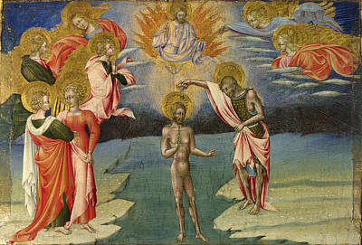 Baptism Of Christ Painting - The Baptism Of Christ - Predella Panel by Giovanni di Paolo