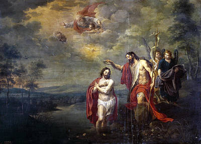 Baptism Of Christ Painting - The Baptism Of Christ by Willem van Herp the Younger