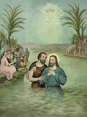 Christ Drawing - The Baptism Of Jesus Christ Circa 1893 by Aged Pixel
