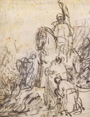 Artist Process Painting - The Baptism Of The Eunuch  by Rembrandt