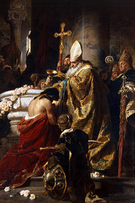 Baptism Painting - The Baptism Of Vajk by Gyula Benczur