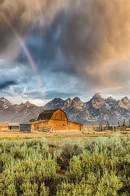 Vertical Photograph - The Barn At The End Of The Rainbow by Andres Leon