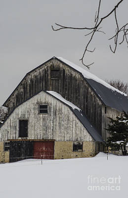 Red Barn In Winter Photograph - The Barn With A Red Door by Deborah Smolinske
