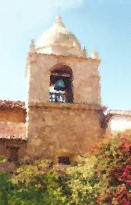 Del Rio Digital Art - The Basilica Of Mission San Carlos Borromeo Del Rio Carmelo_painting by Asbjorn Lonvig