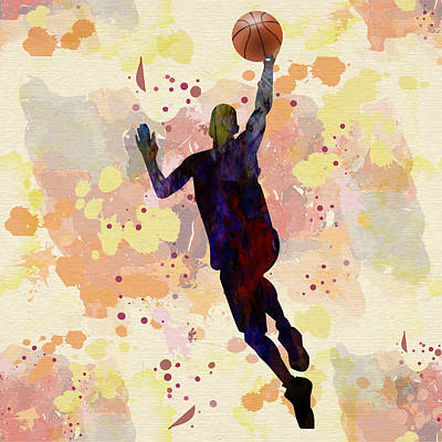 Drip Drawing - The Basket Player  by Celestial Images