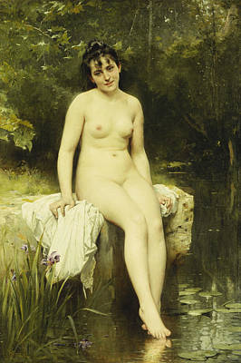 Academic Painting - The Bather by Leon Bazile Perrault