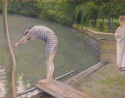 Diving Board Painting - The Bather Or The Diver by Gustave Caillebotte