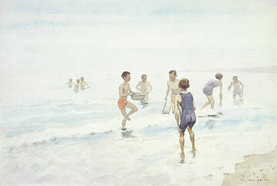 Boys Swimming Painting - The Bathers by Edward van Goethem