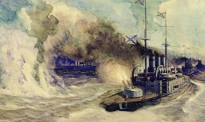 Spray Painting - The Battle Between The Black Sea Fleet And The Armoured Cruiser Goeben by Mikhail Mikhailovich Semyonov
