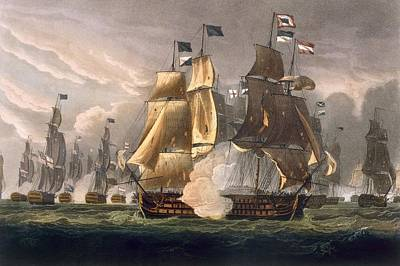 Warfare Drawing - The Battle Of Cape St Vincent by Thomas Whitcombe