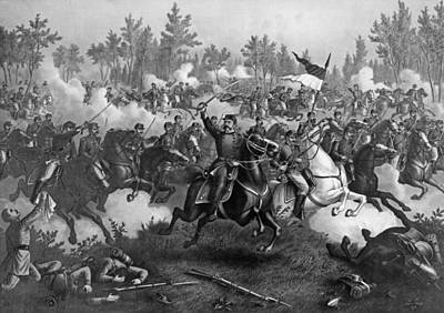 The Battle Of Cedar Creek, Oct. 19th, 1864, Pub. By Kurz & Allison, Chicago, 1890 Engraving Bw Photo Print by American School